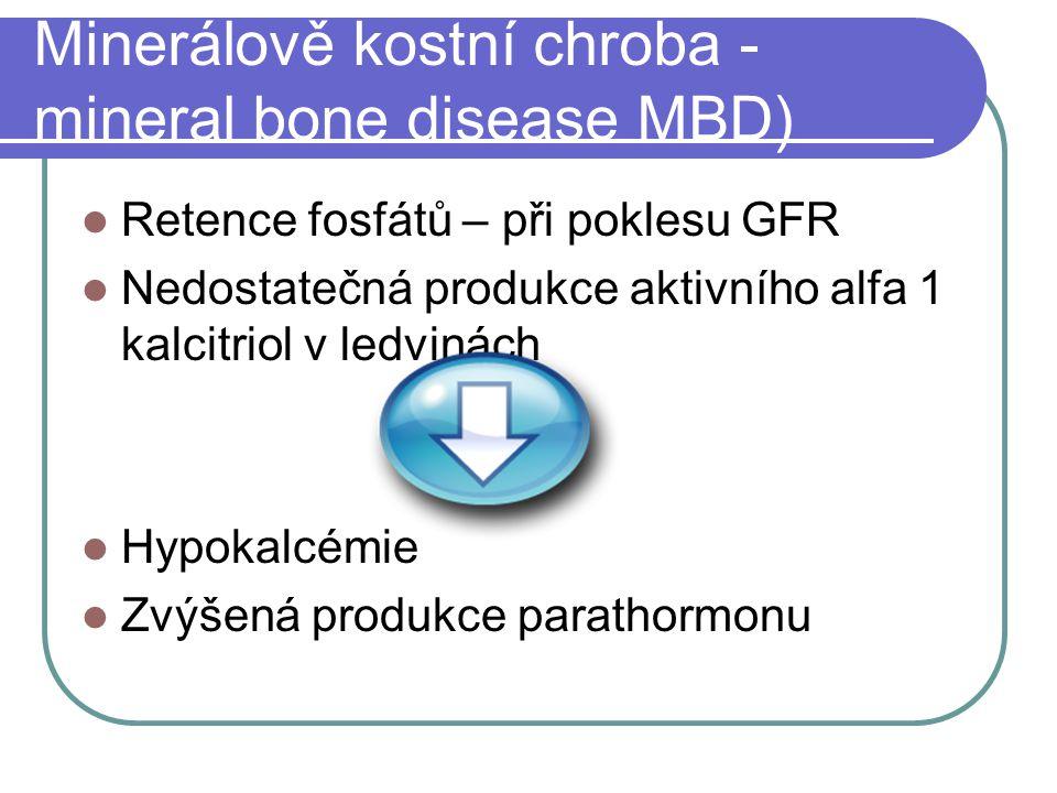 Minerálově kostní chroba - mineral bone disease MBD) Retence fosfátů – při poklesu GFR Nedostatečná produkce aktivního alfa 1 kalcitriol v ledvinách Hypokalcémie Zvýšená produkce parathormonu