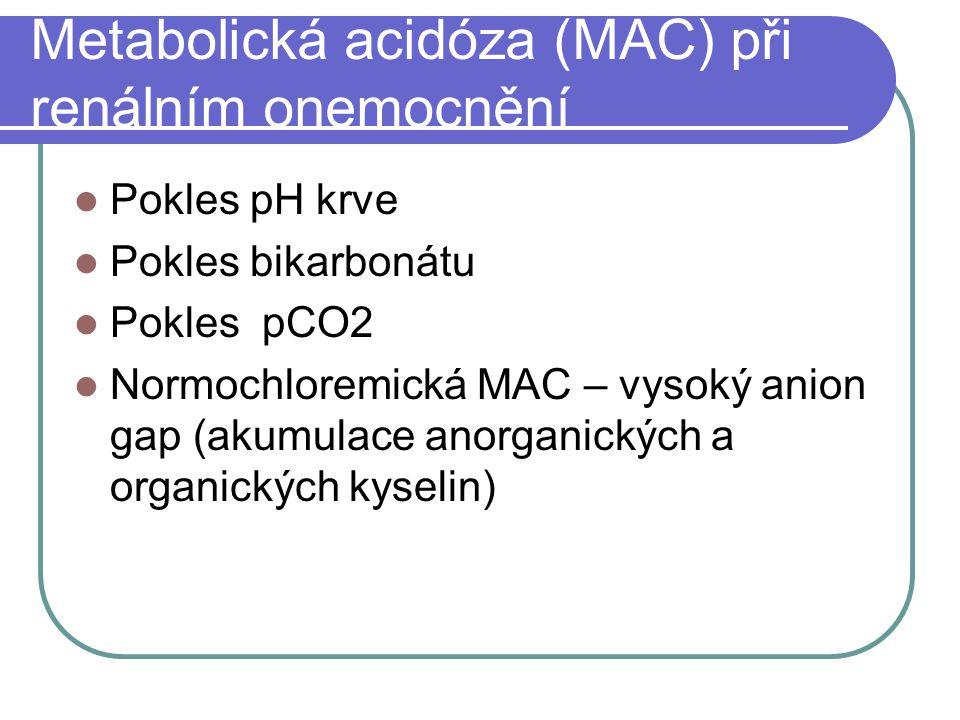 Metabolická acidóza (MAC) při renálním onemocnění Pokles pH krve Pokles bikarbonátu Pokles pCO2 Normochloremická MAC – vysoký anion gap (akumulace anorganických a organických kyselin)