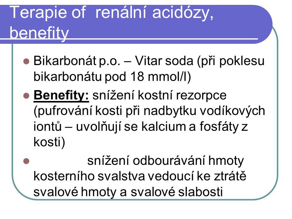Terapie of renální acidózy, benefity Bikarbonát p.o.