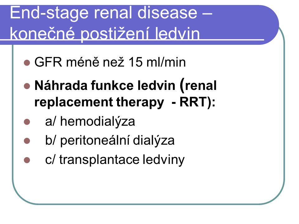 End-stage renal disease – konečné postižení ledvin GFR méně než 15 ml/min Náhrada funkce ledvin ( renal replacement therapy - RRT): a/ hemodialýza b/ peritoneální dialýza c/ transplantace ledviny