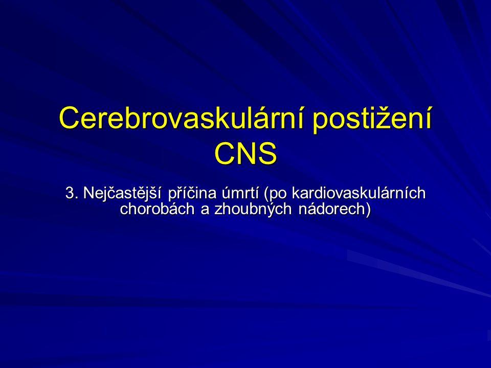 Cerebrovaskulární postižení CNS 3. Nejčastější příčina úmrtí (po kardiovaskulárních chorobách a zhoubných nádorech)