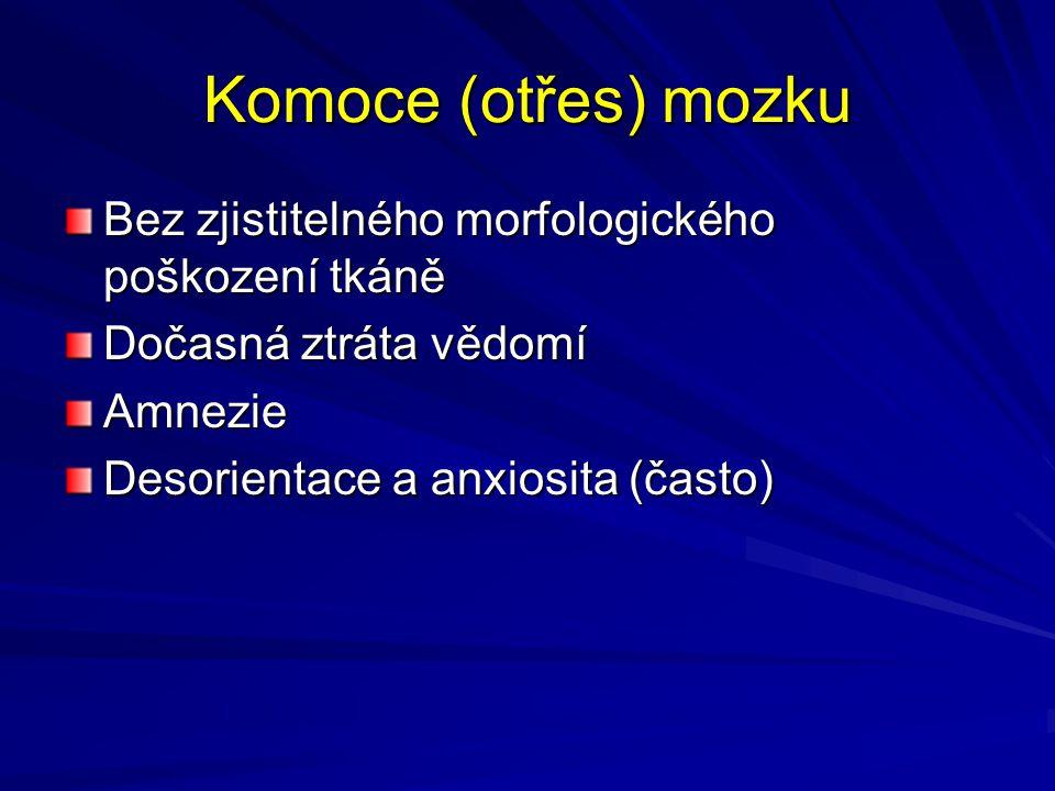 Komoce (otřes) mozku Bez zjistitelného morfologického poškození tkáně Dočasná ztráta vědomí Amnezie Desorientace a anxiosita (často)