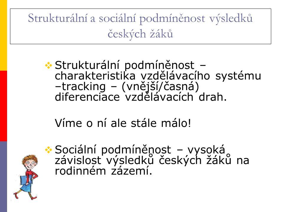 Strukturální a sociální podmíněnost výsledků českých žáků  Strukturální podmíněnost – charakteristika vzdělávacího systému –tracking – (vnější/časná) diferenciace vzdělávacích drah.