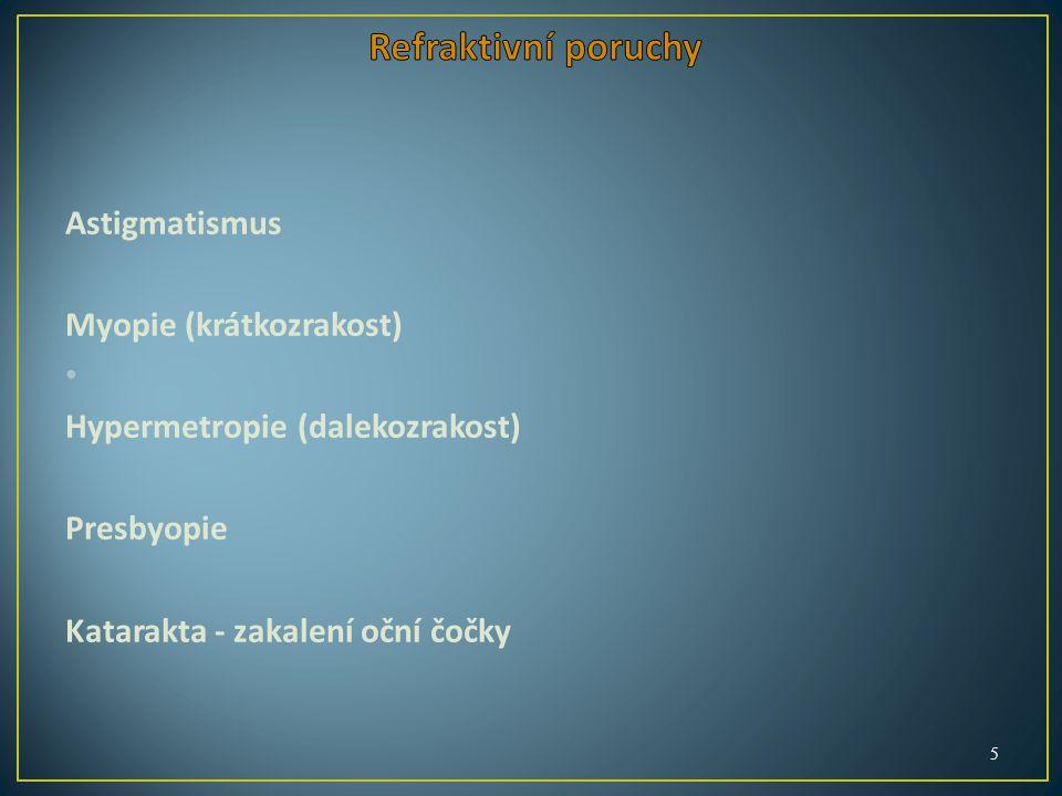 Astigmatismus Myopie (krátkozrakost) Hypermetropie (dalekozrakost) Presbyopie Katarakta - zakalení oční čočky 5