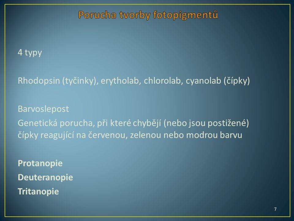 4 typy Rhodopsin (tyčinky), erytholab, chlorolab, cyanolab (čípky) Barvoslepost Genetická porucha, při které chybějí (nebo jsou postižené) čípky reagující na červenou, zelenou nebo modrou barvu Protanopie Deuteranopie Tritanopie 7