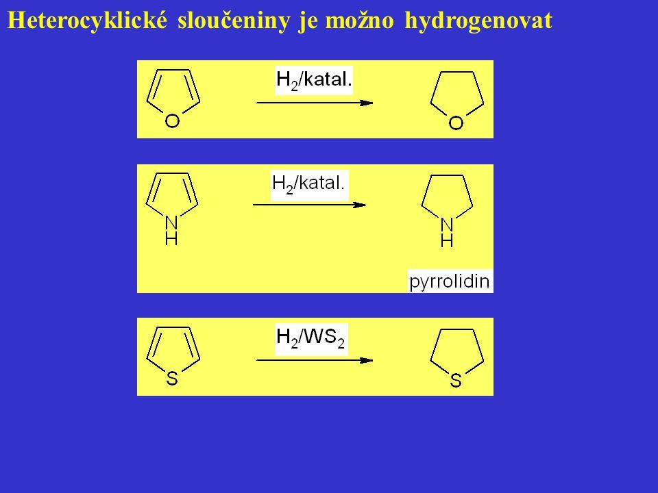 Heterocyklické sloučeniny je možno hydrogenovat