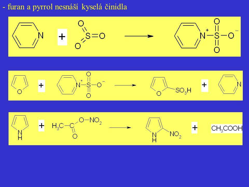 - furan a pyrrol nesnáší kyselá činidla