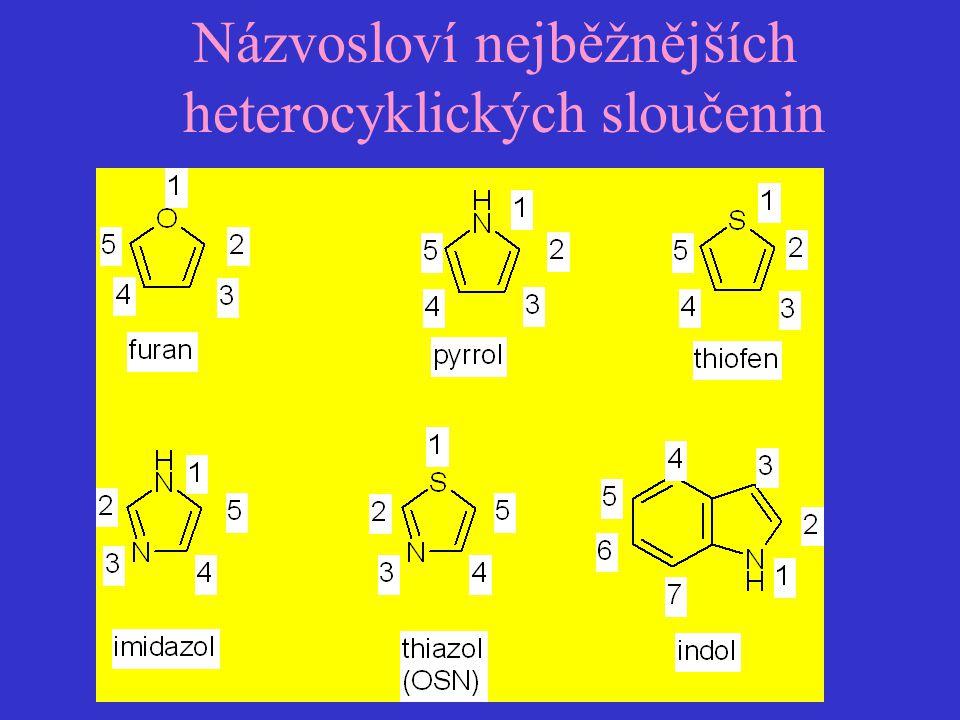 Názvosloví nejběžnějších heterocyklických sloučenin