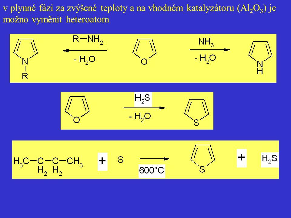v plynné fázi za zvýšené teploty a na vhodném katalyzátoru (Al 2 O 3 ) je možno vyměnit heteroatom
