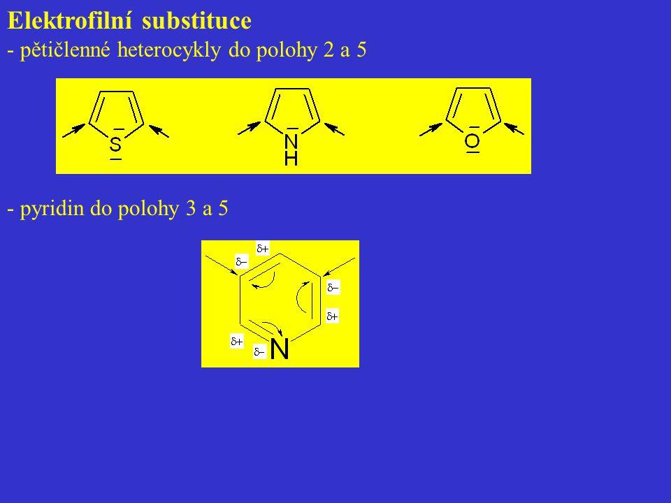 Elektrofilní substituce - pětičlenné heterocykly do polohy 2 a 5 - pyridin do polohy 3 a 5