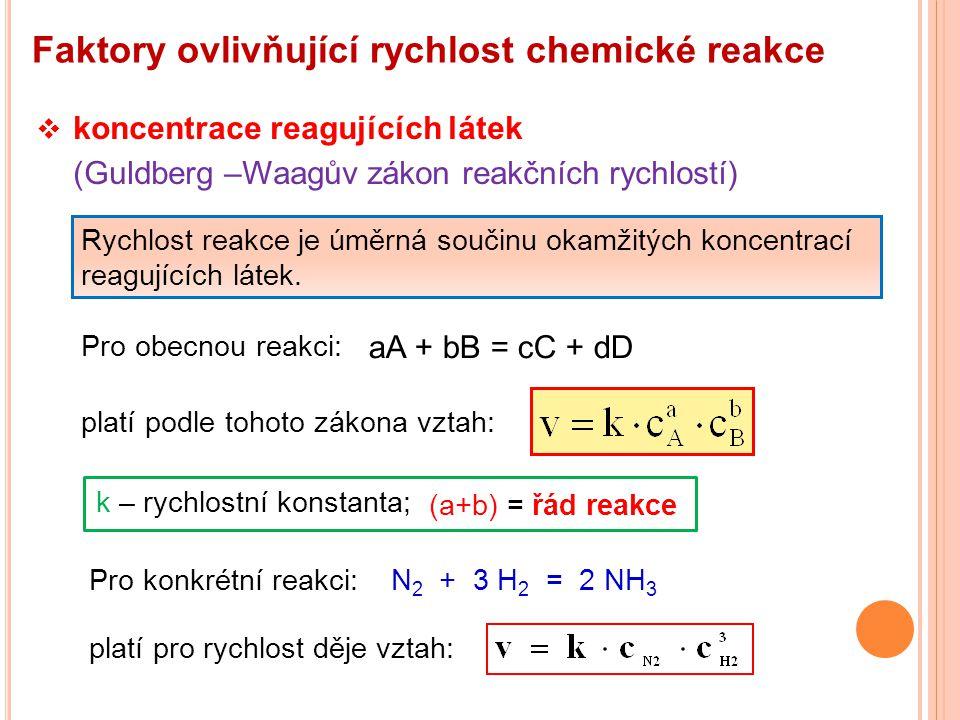 Faktory ovlivňující rychlost chemické reakce  koncentrace reagujících látek (Guldberg –Waagův zákon reakčních rychlostí) Rychlost reakce je úměrná so