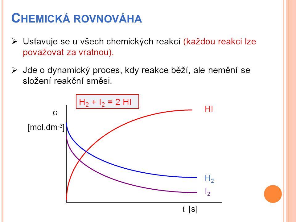 C HEMICKÁ ROVNOVÁHA  Ustavuje se u všech chemických reakcí (každou reakci lze považovat za vratnou).  Jde o dynamický proces, kdy reakce běží, ale n