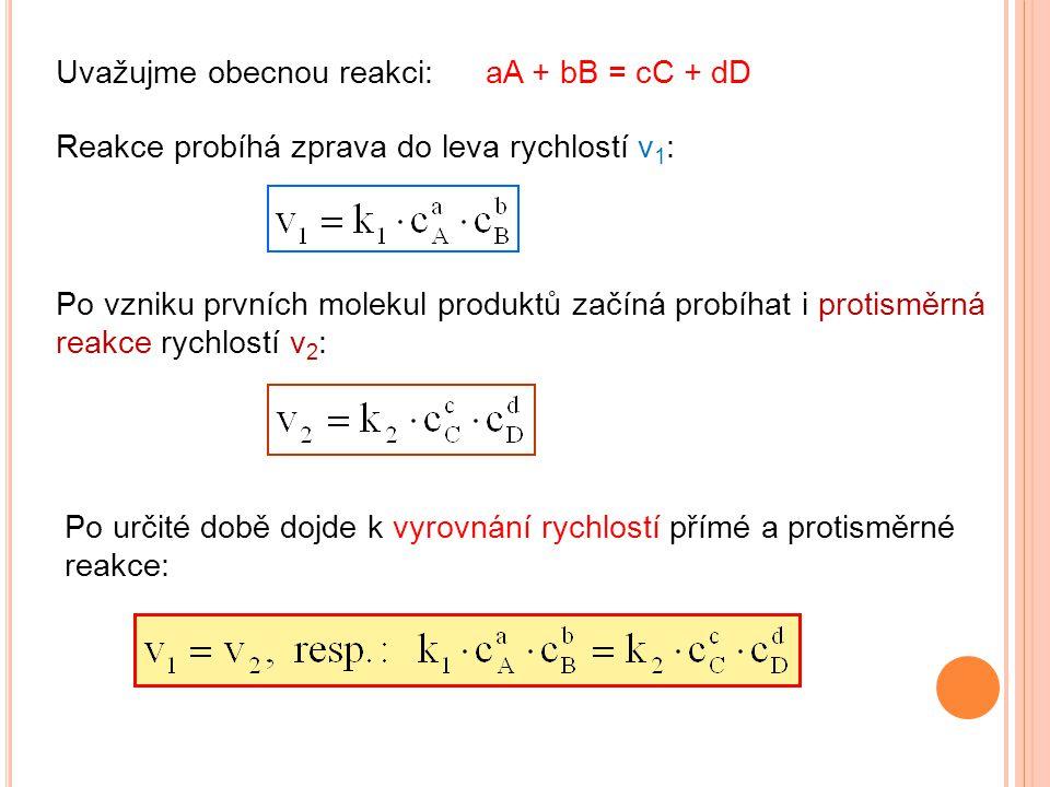 Uvažujme obecnou reakci:aA + bB = cC + dD Reakce probíhá zprava do leva rychlostí v 1 : Po vzniku prvních molekul produktů začíná probíhat i protisměr