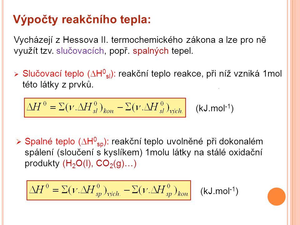 Výpočty reakčního tepla:  Slučovací teplo (  H 0 sl ): reakční teplo reakce, při níž vzniká 1mol této látky z prvků.  Spalné teplo (  H 0 sp ): re