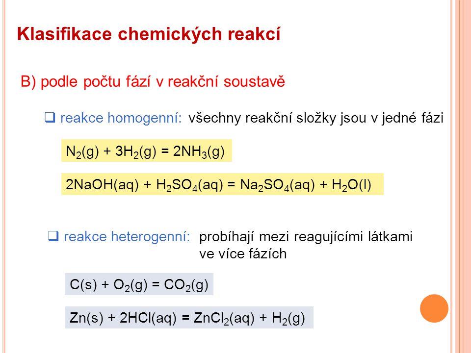 Uvažujme obecnou reakci:aA + bB = cC + dD Reakce probíhá zprava do leva rychlostí v 1 : Po vzniku prvních molekul produktů začíná probíhat i protisměrná reakce rychlostí v 2 : Po určité době dojde k vyrovnání rychlostí přímé a protisměrné reakce: