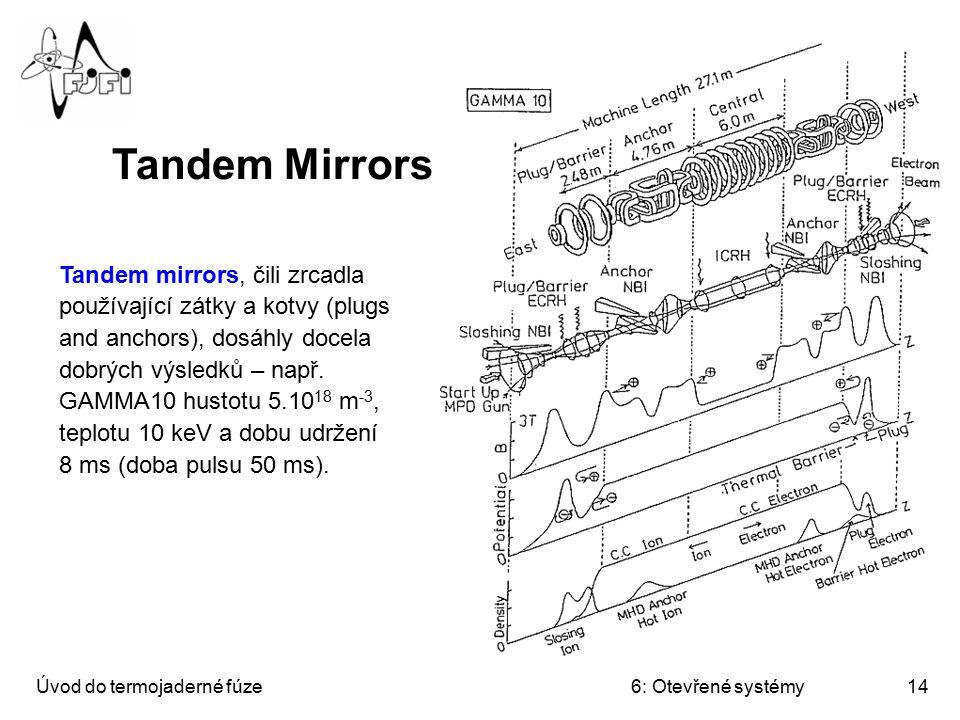 Úvod do termojaderné fúze6: Otevřené systémy14 Tandem mirrors, čili zrcadla používající zátky a kotvy (plugs and anchors), dosáhly docela dobrých výsl