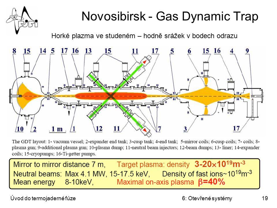 Úvod do termojaderné fúze6: Otevřené systémy19 Novosibirsk - Gas Dynamic Trap Horké plazma ve studeném – hodně srážek v bodech odrazu