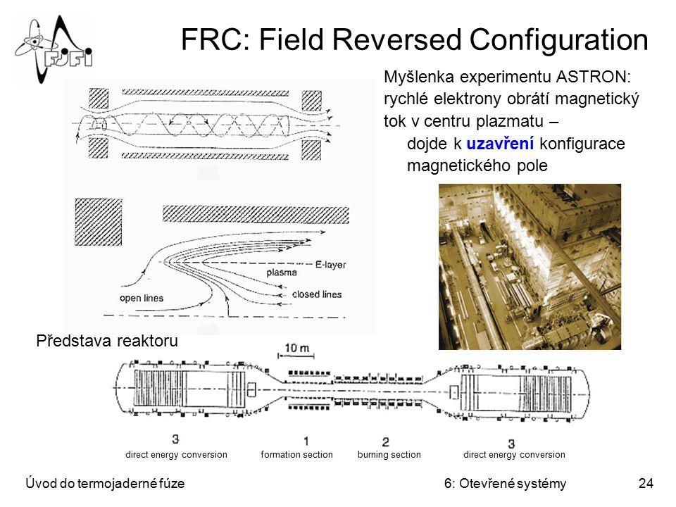 Úvod do termojaderné fúze6: Otevřené systémy24 FRC: Field Reversed Configuration Myšlenka experimentu ASTRON: rychlé elektrony obrátí magnetický tok v