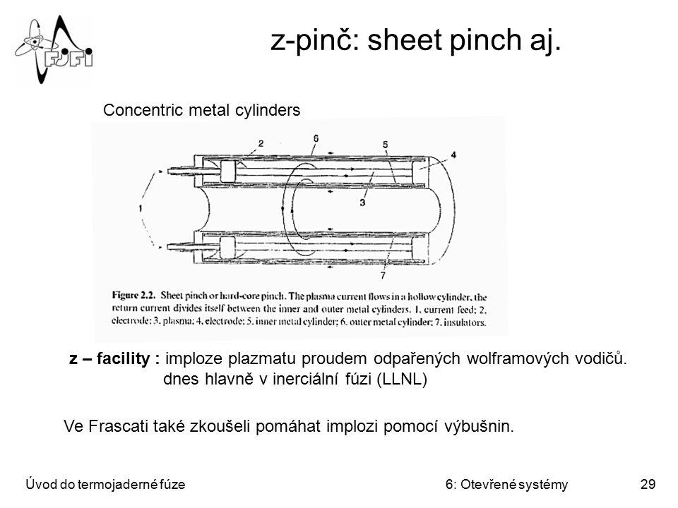 Úvod do termojaderné fúze6: Otevřené systémy29 z-pinč: sheet pinch aj. Concentric metal cylinders z – facility : imploze plazmatu proudem odpařených w
