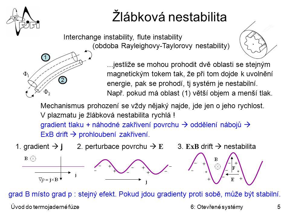 Úvod do termojaderné fúze6: Otevřené systémy5 Žlábková nestabilita Interchange instability, flute instability (obdoba Rayleighovy-Taylorovy nestabilit