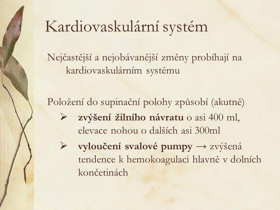 Kardiovaskulární systém Nejčastější a nejobávanější změny probíhají na kardiovaskulárním systému Položení do supinační polohy způsobí (akutně)  zvýšení žilního návratu o asi 400 ml, elevace nohou o dalších asi 300ml  vyloučení svalové pumpy → zvýšená tendence k hemokoagulaci hlavně v dolních končetinách