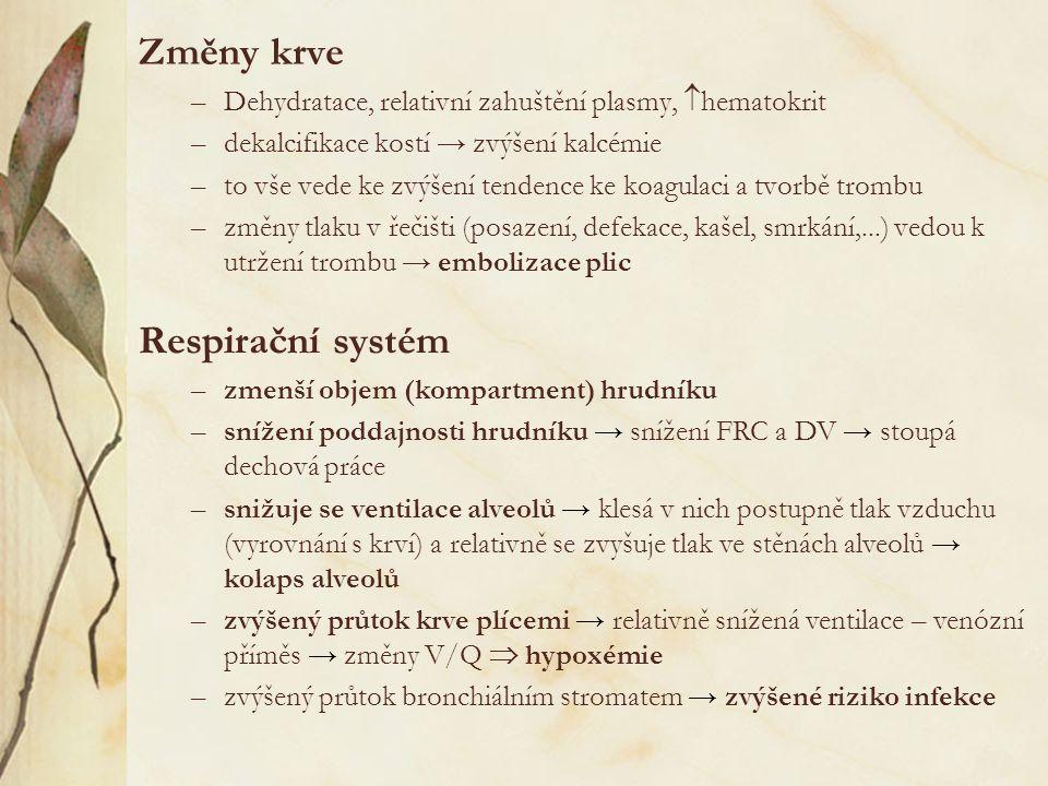 Změny krve –Dehydratace, relativní zahuštění plasmy,  hematokrit –dekalcifikace kostí → zvýšení kalcémie –to vše vede ke zvýšení tendence ke koagulaci a tvorbě trombu –změny tlaku v řečišti (posazení, defekace, kašel, smrkání,...) vedou k utržení trombu → embolizace plic Respirační systém –zmenší objem (kompartment) hrudníku –snížení poddajnosti hrudníku → snížení FRC a DV → stoupá dechová práce –snižuje se ventilace alveolů → klesá v nich postupně tlak vzduchu (vyrovnání s krví) a relativně se zvyšuje tlak ve stěnách alveolů → kolaps alveolů –zvýšený průtok krve plícemi → relativně snížená ventilace – venózní příměs → změny V/Q  hypoxémie –zvýšený průtok bronchiálním stromatem → zvýšené riziko infekce