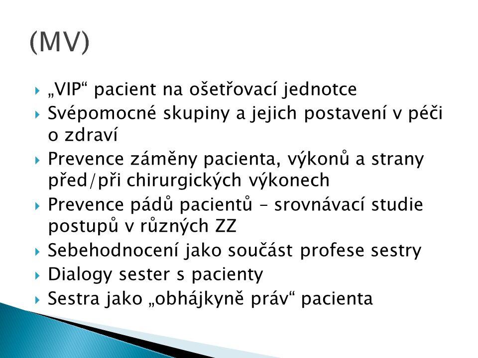 """ """"VIP"""" pacient na ošetřovací jednotce  Svépomocné skupiny a jejich postavení v péči o zdraví  Prevence záměny pacienta, výkonů a strany před/při ch"""