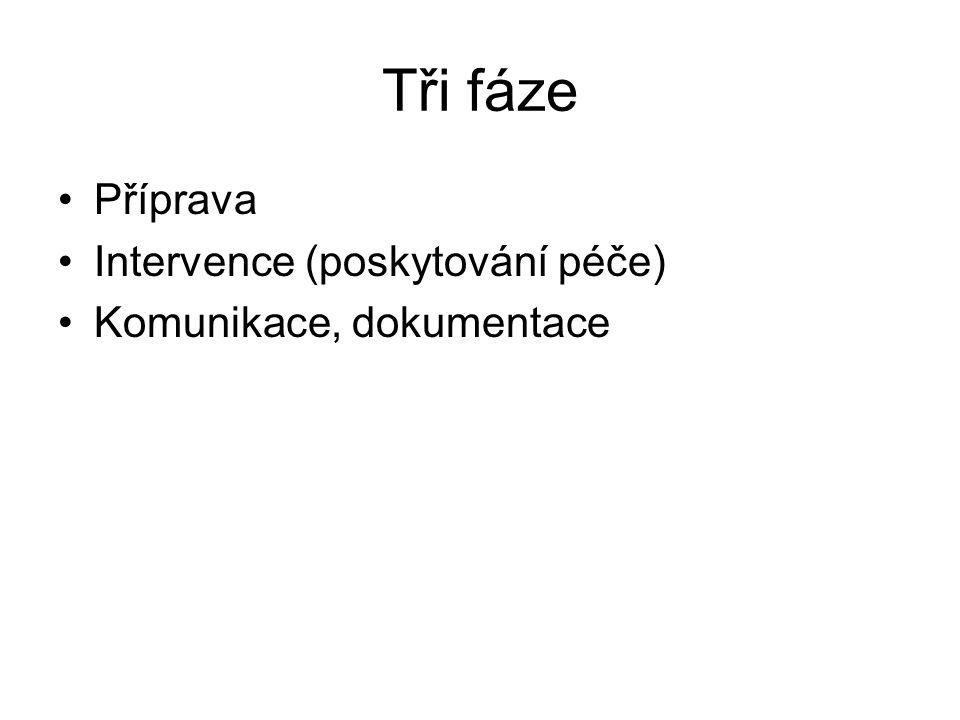 Tři fáze Příprava Intervence (poskytování péče) Komunikace, dokumentace