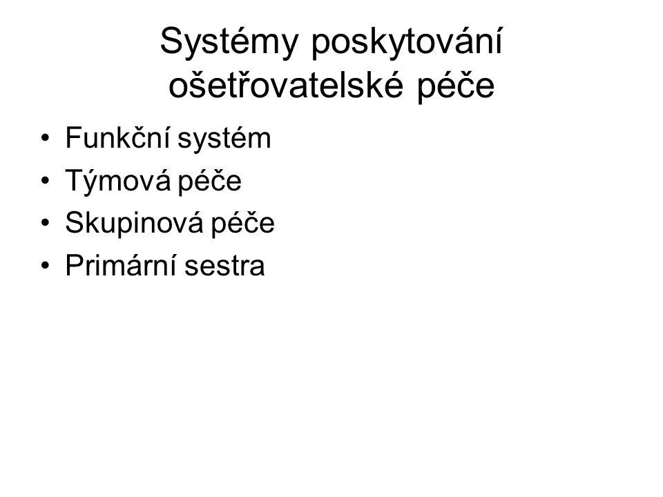Systémy poskytování ošetřovatelské péče Funkční systém Týmová péče Skupinová péče Primární sestra