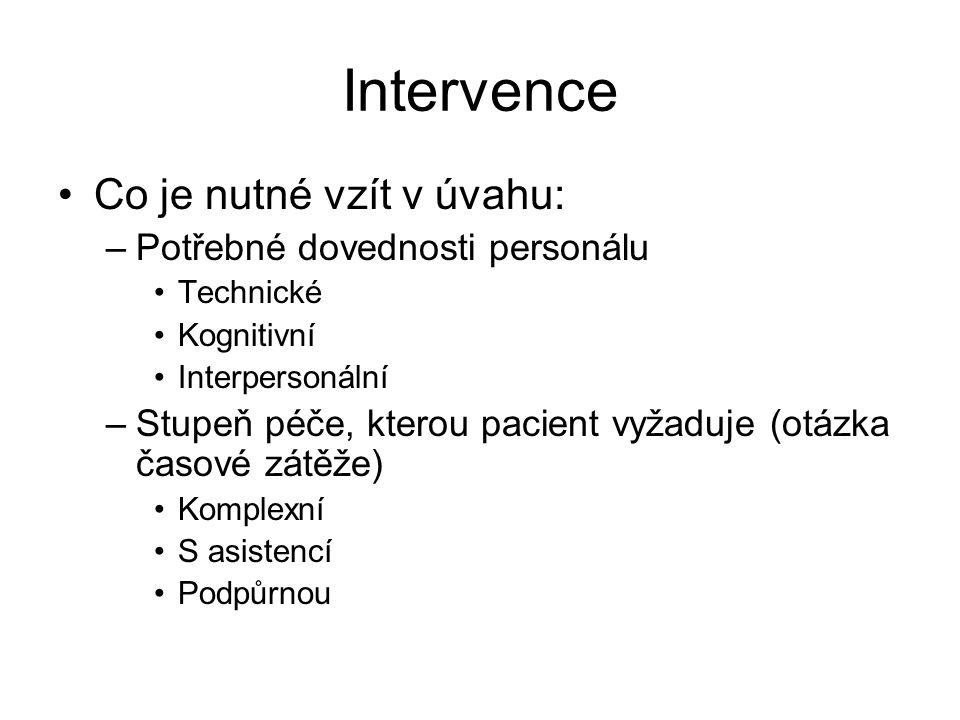 Intervence Co je nutné vzít v úvahu: –Potřebné dovednosti personálu Technické Kognitivní Interpersonální –Stupeň péče, kterou pacient vyžaduje (otázka časové zátěže) Komplexní S asistencí Podpůrnou