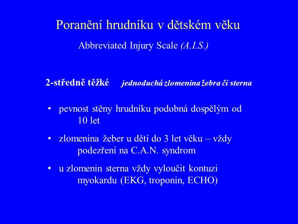 Poranění hrudníku v dětském věku 2-středně těžké jednoduchá zlomenina žebra či sterna pevnost stěny hrudníku podobná dospělým od 10 let zlomenina žebe