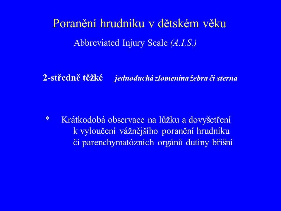 Poranění hrudníku v dětském věku 2-středně těžké jednoduchá zlomenina žebra či sterna * Krátkodobá observace na lůžku a dovyšetření k vyloučení vážněj