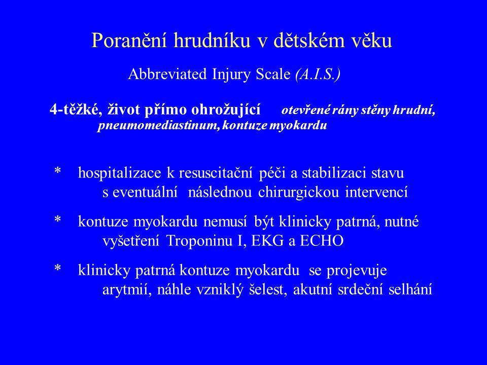 Poranění hrudníku v dětském věku 4-těžké, život přímo ohrožující otevřené rány stěny hrudní, pneumomediastinum, kontuze myokardu * hospitalizace k res