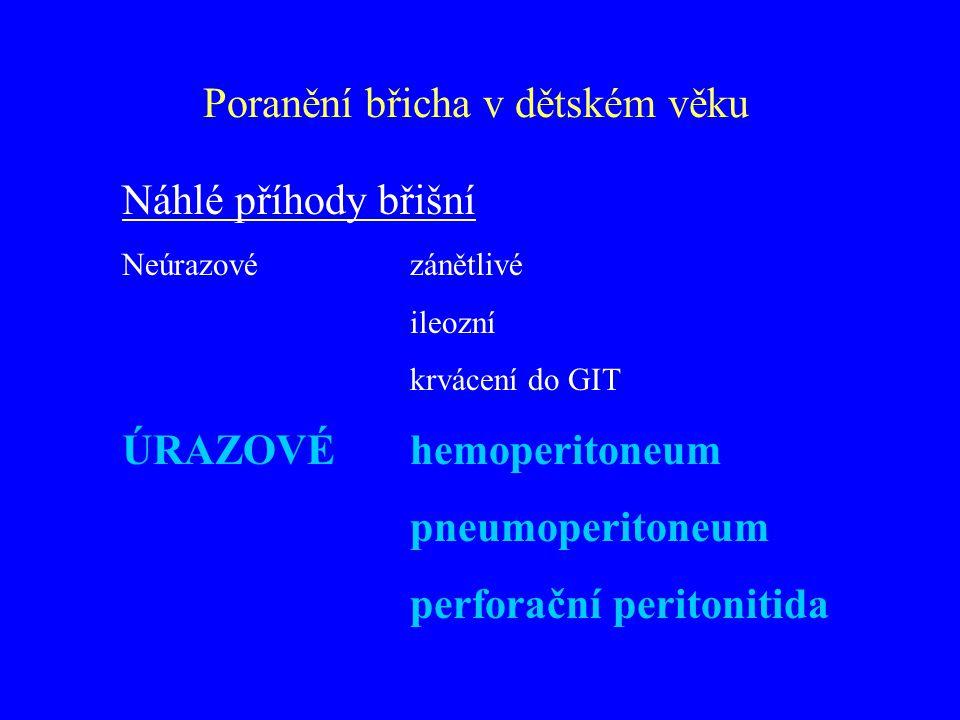 Náhlé příhody břišní Neúrazové zánětlivé ileozní krvácení do GIT ÚRAZOVÉ hemoperitoneum pneumoperitoneum perforační peritonitida
