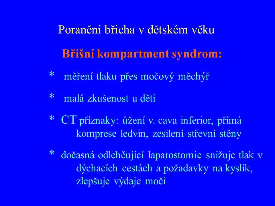 Břišní kompartment syndrom: * měření tlaku přes močový měchýř * malá zkušenost u dětí * CT příznaky: úžení v. cava inferior, přímá komprese ledvin, ze