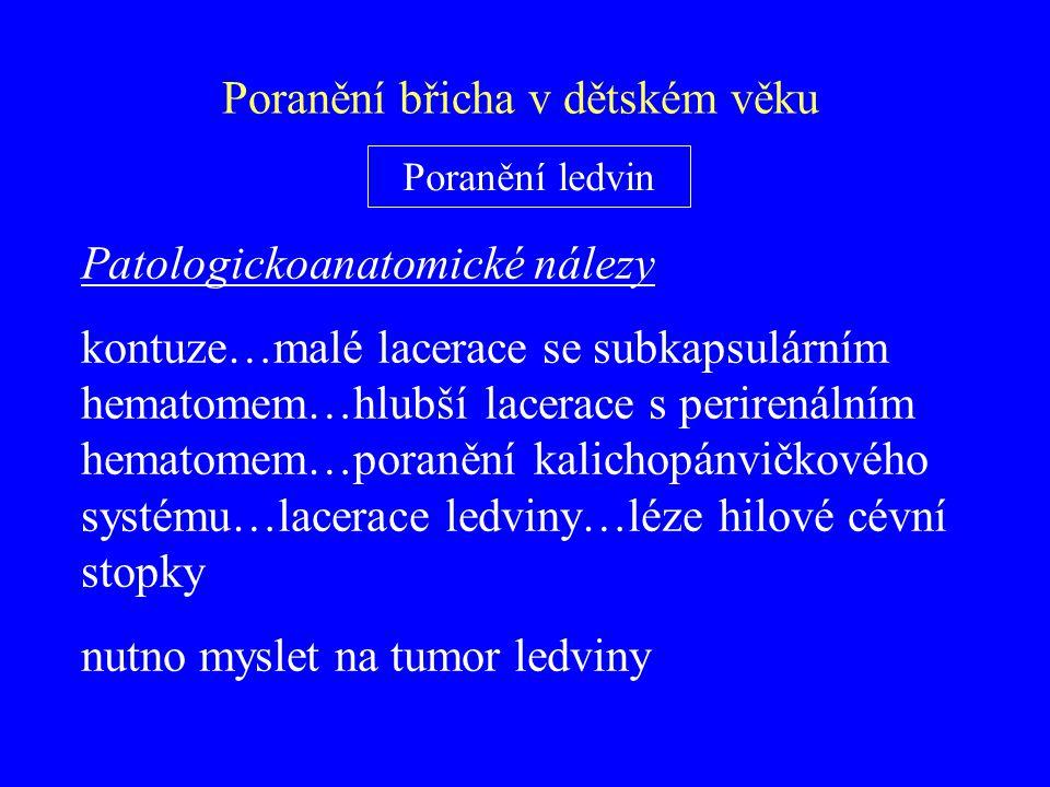 Patologickoanatomické nálezy kontuze…malé lacerace se subkapsulárním hematomem…hlubší lacerace s perirenálním hematomem…poranění kalichopánvičkového s