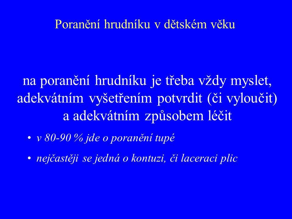 Bolesti břicha v epigastriu, zvracení, příznaky ileu v laboratoři leukocytóza, elevace AMS-S i U, vyšetření USG, CT, pasáž duodenem léčba konzervativní, indikací k operaci pouze známky přerušení pankreatického vývodu komplikace posttraumatická pseudocysta Poranění břicha v dětském věku Poranění pankreatu