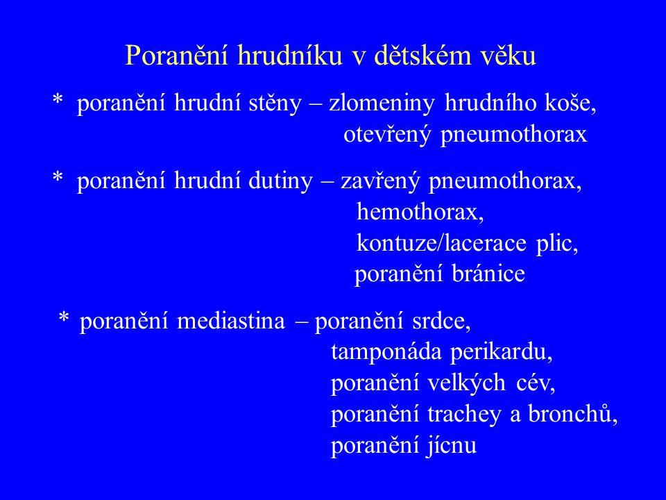 Abbreviated Injury Scale (A.I.S.) 1.lehké kontuze hrudní stěny 2.středně těžké jednoduchá zlomenina žebra či sterna 3.těžké, život přímo neohrožující seriová zlomenina žeber, hemo/pneumotorax, ruptura bránice, kontuze plic 4.těžké, život přímo ohrožující otevřené rány stěny hrudní, pneumomediastinum, kontuze myokardu 5.kritické, přežití nejisté lacerace trachey, hemomediastinum, lacerace aorty, lacerace myokardu Poranění hrudníku v dětském věku