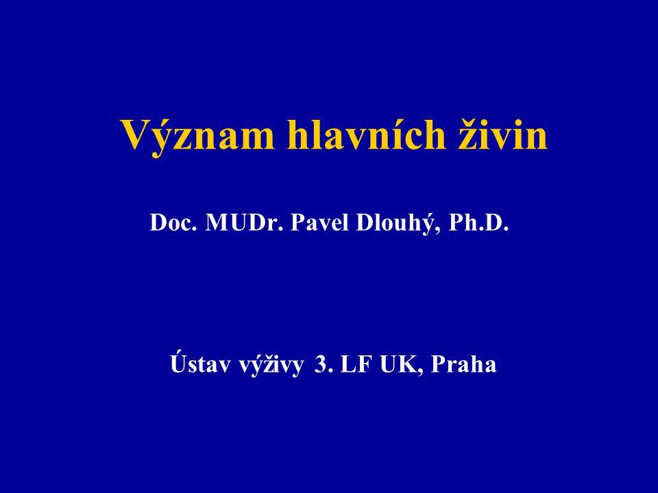 Význam hlavních živin Doc. MUDr. Pavel Dlouhý, Ph.D. Ústav výživy 3. LF UK, Praha