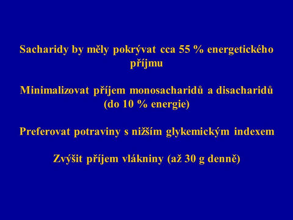 Sacharidy by měly pokrývat cca 55 % energetického příjmu Minimalizovat příjem monosacharidů a disacharidů (do 10 % energie) Preferovat potraviny s niž