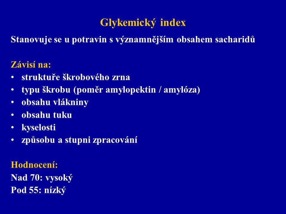 Glykemický index Stanovuje se u potravin s významnějším obsahem sacharidů Závisí na: struktuře škrobového zrna typu škrobu (poměr amylopektin / amylóz