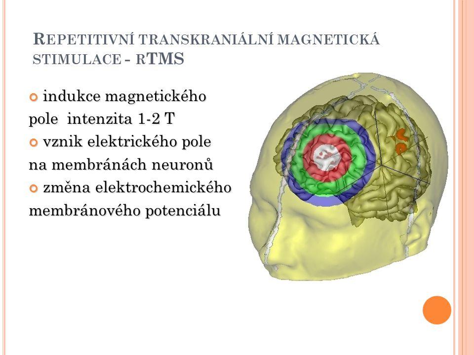 R EPETITIVNÍ TRANSKRANIÁLNÍ MAGNETICKÁ STIMULACE - R TMS indukce magnetického pole intenzita 1-2 T vznik elektrického pole na membránách neuronů změna