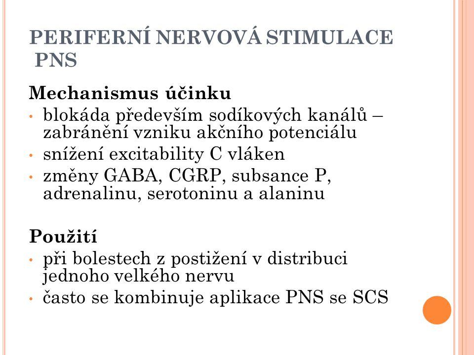 PERIFERNÍ NERVOVÁ STIMULACE PNS Mechanismus účinku blokáda především sodíkových kanálů – zabránění vzniku akčního potenciálu snížení excitability C vl