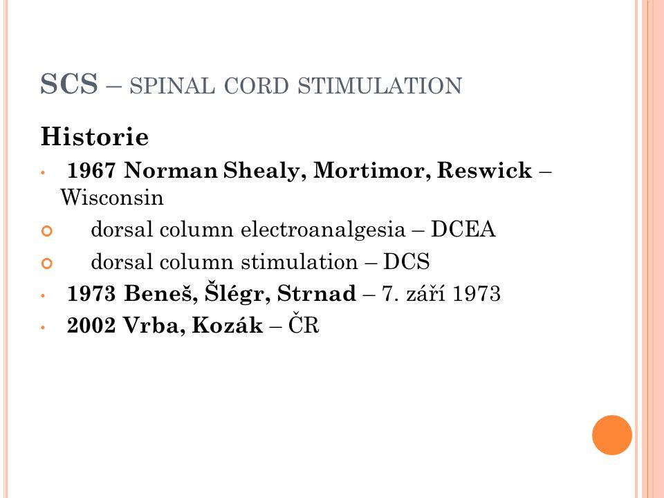 SCS – SPINAL CORD STIMULATION Historie 1967 Norman Shealy, Mortimor, Reswick – Wisconsin dorsal column electroanalgesia – DCEA dorsal column stimulati