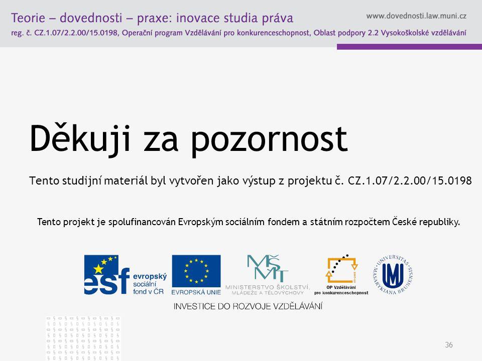 Děkuji za pozornost Tento studijní materiál byl vytvořen jako výstup z projektu č. CZ.1.07/2.2.00/15.0198 36 Tento projekt je spolufinancován Evropský