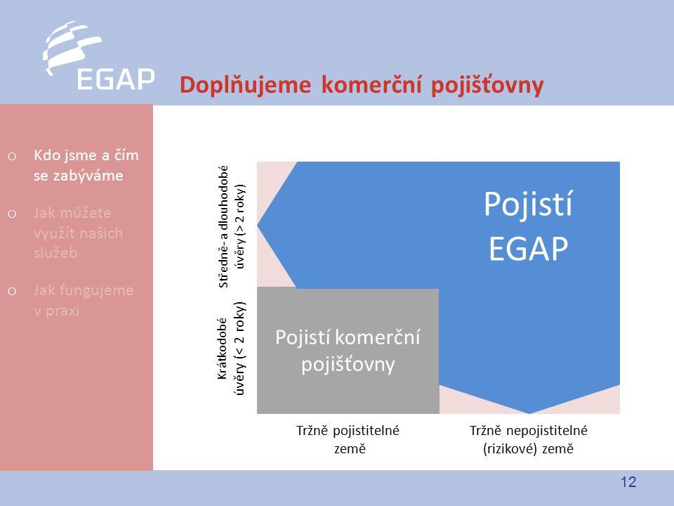 12 Doplňujeme komerční pojišťovny Tržně pojistitelné země Tržně nepojistitelné (rizikové) země Krátkodobé úvěry (< 2 roky) Středně- a dlouhodobé úvěry (> 2 roky) Pojistí komerční pojišťovny Pojistí EGAP o Kdo jsme a čím se zabýváme o Jak můžete využít našich služeb o Jak fungujeme v praxi