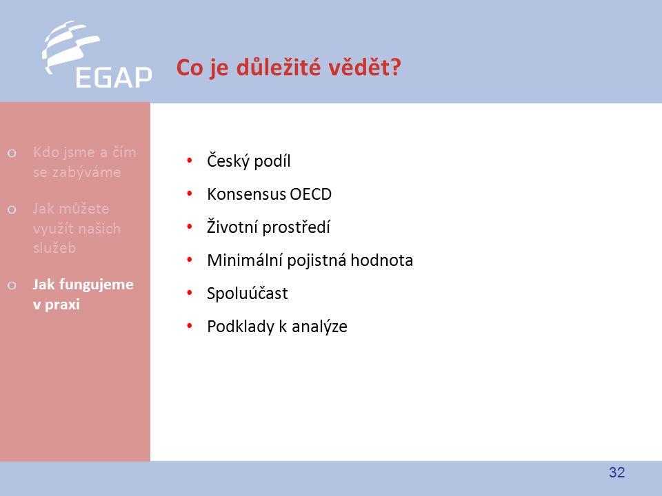 32 Co je důležité vědět? Český podíl Konsensus OECD Životní prostředí Minimální pojistná hodnota Spoluúčast Podklady k analýze o Kdo jsme a čím se zab