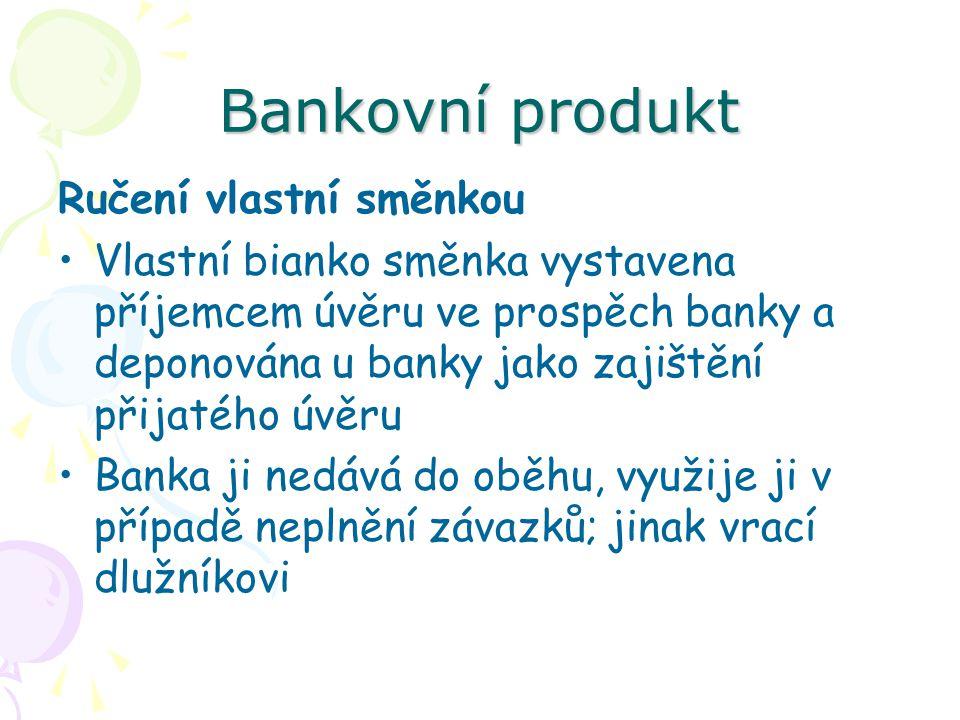 Bankovní produkt Ručení vlastní směnkou Vlastní bianko směnka vystavena příjemcem úvěru ve prospěch banky a deponována u banky jako zajištění přijatéh