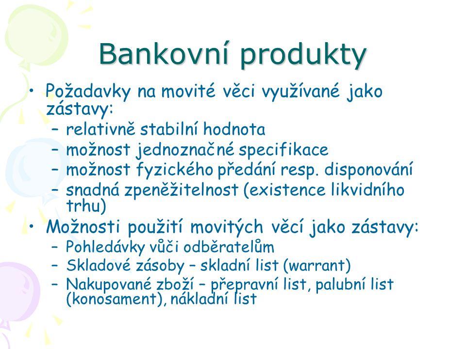 Bankovní produkty Požadavky na movité věci využívané jako zástavy: –relativně stabilní hodnota –možnost jednoznačné specifikace –možnost fyzického pře