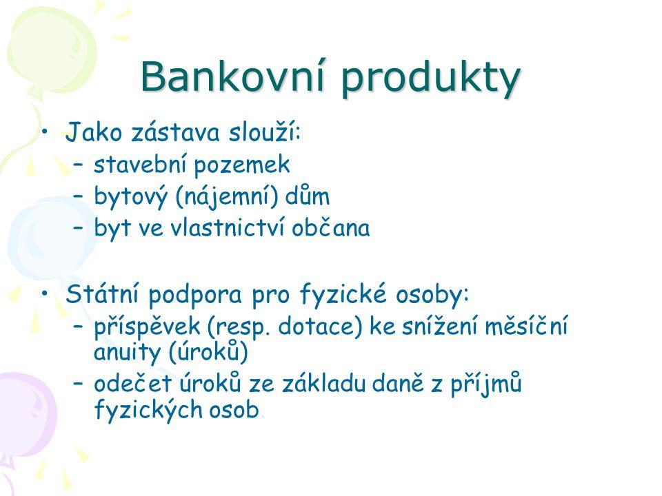 Bankovní produkty Jako zástava slouží: –stavební pozemek –bytový (nájemní) dům –byt ve vlastnictví občana Státní podpora pro fyzické osoby: –příspěvek